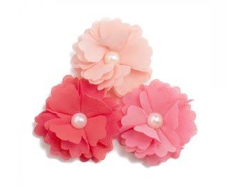 "Cora  : 2"" Tutu Pearl Daisy  x 3   Craft Flower for Headband DIY Kits   Girls Accessories Baby Showers   Coral + Peach"