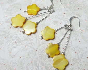 SALE, 50%, Yellow Shell triple dangle earrings made with Mother of Pearl shells in daisy shape, dangle earrings, holiday earrings, yellow ea