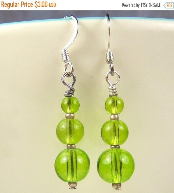 SALE, 50%, Green glass beads in a drop dangle earring