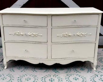 French Provincial Double Dresser Painted Shabby Chic  Creamy White with Rose Floral Appliques and Light Distressing