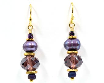 Purple and Gold Freshwater Pearl and Faceted Crystal Earrings