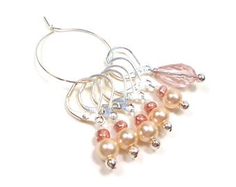 Removable Stitch Markers Crochet Row Markers Peach Pearl Locking Knitting Supplies DIY Crafts