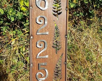 BRAND NEW - House Address Panel Stake - Rusted Steel - 6 Designes to choose from