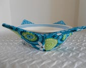 Microwave Bowl Cozy,  Soup Bowl Warmer, Ice Cream Bowl Holder, Aqua Blue Flowers, Bowl Cozie, Reversible, Fabric Cozy, Hot Cold Bowl Cover