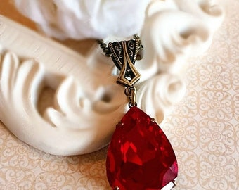 SALE 20% Off Large Red Necklace - Crystal - Christmas Jewelry Gift - VERSAILLES Ruby