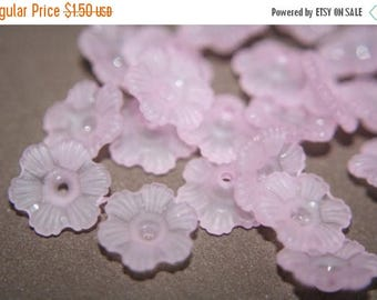 SUMMER CLEARANCE SALE- Frosted Pale Pink Lucite Six Petal Flowers - 24 pcs