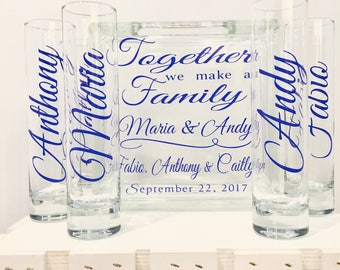 Family Blended Unity Sand Ceremony Containers - Glass Block with Together we make a Family - Personalized - Side vessels Mr. Mrs. royal blue
