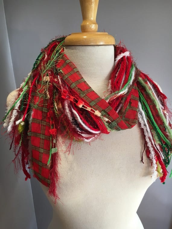 Medium Fringe Scarf, Giftwrap Fringie, Christmas scarf in red, lime, green, and white with polka dots, holiday scarf