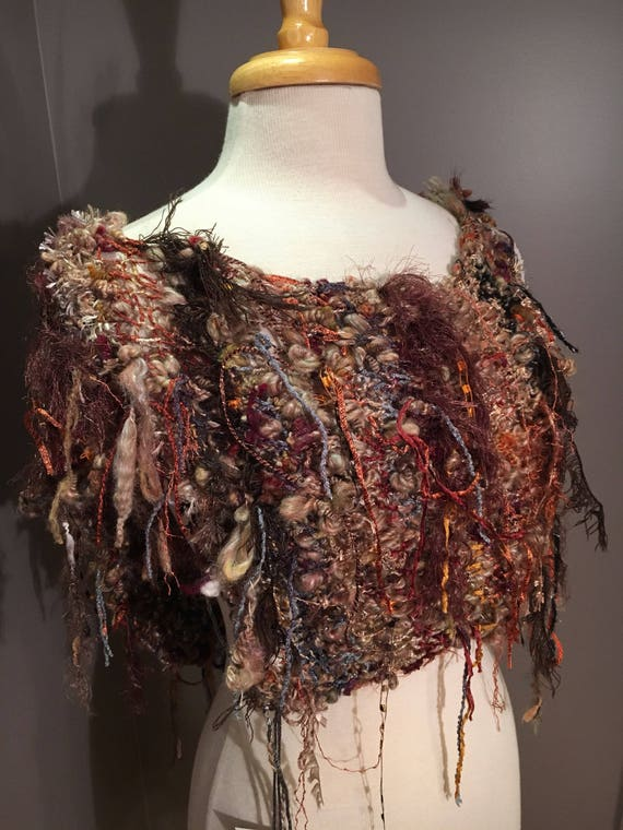 Hand knit poncho, offset XL neck tapered wrap, Dumpster Diva 'Harvest Moon' Fringed Ponchos, one of a kind, handspun mohair, bohemian, boho