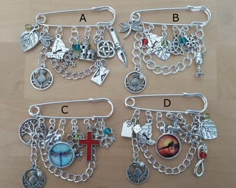 Safety Pin Charm BROOCH, charms on brooch, hanging charms, inspired by the Scottish Highlands