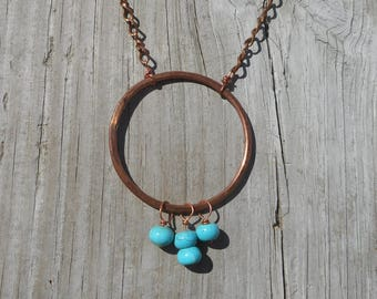 BoHo style necklace, Copper necklace, copper beaded necklace, howlite and copper necklace, coppermetaldesigns, nickel free jewelry,