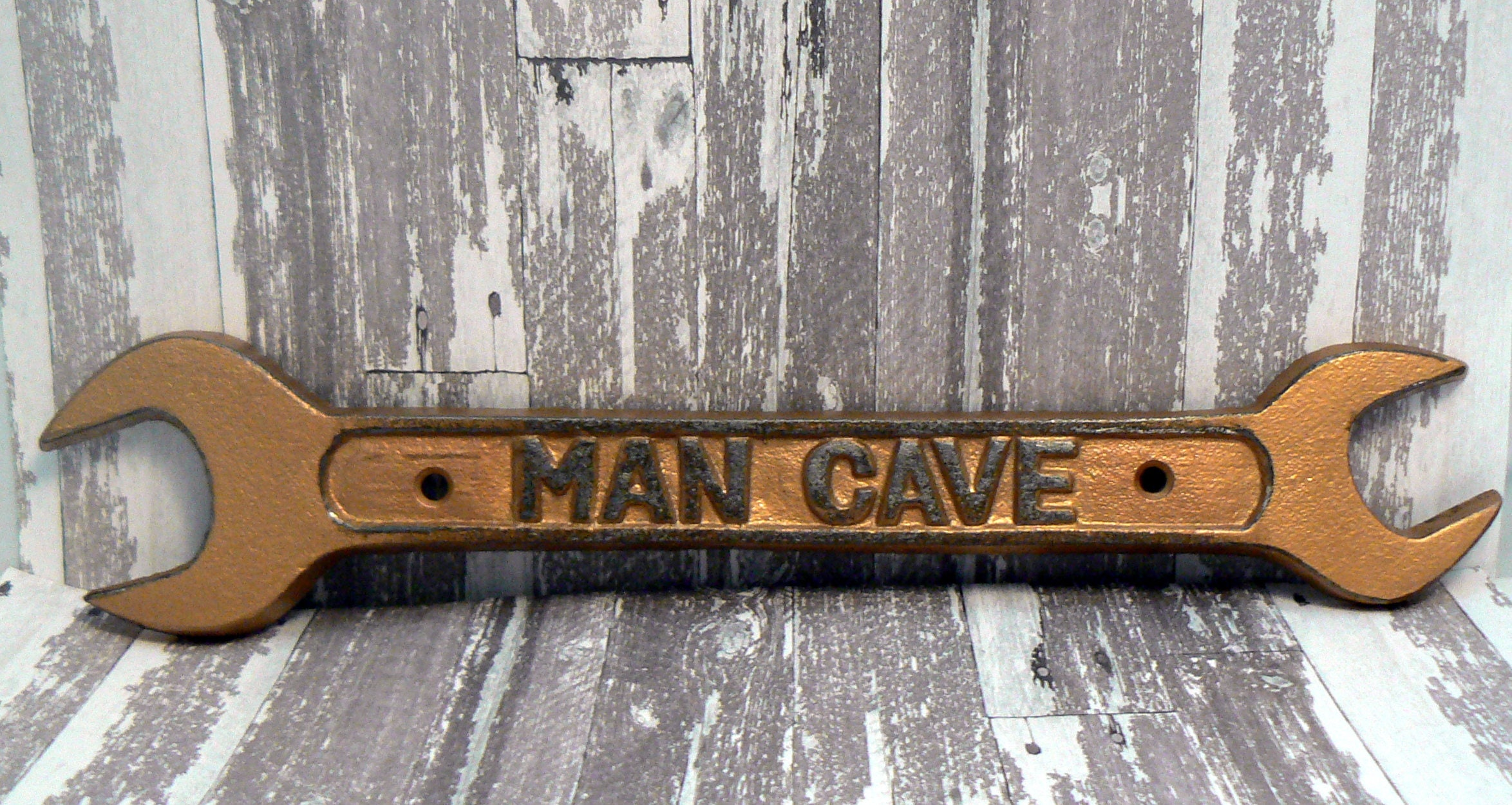 Man Caves Casting : Man cave sign wrench wall art decor gold cast iron home