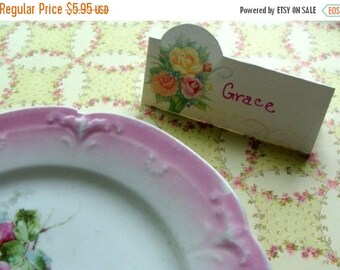 ONSALE Vintage Shabby Chic Dinner Party Garden Party Tea Party Place Cards Roses Diecut Place Cards