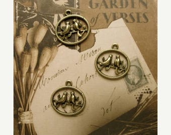 ONSALE 3  Antiqued Bird Charms/Stampings for my Garden Journal