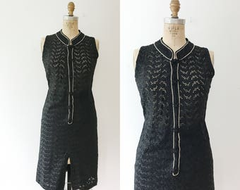 black lace dress / eyelet lace dress / Mandarin Lace dress