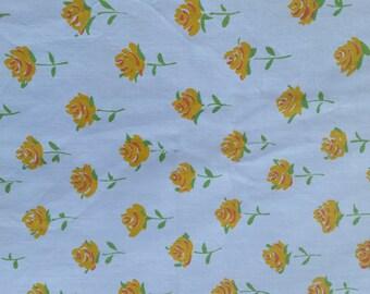 Mid-century vintage twin single sheet set floral yellow, 3 piece set, 2 flat and pillowcase