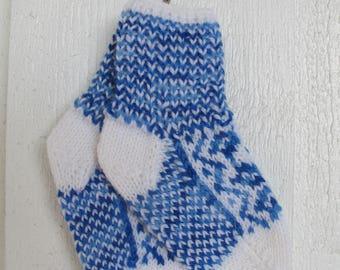 Handknitted norwegian socks in white and multi blue for children
