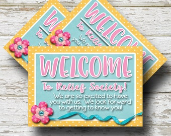 LDS, Relief Society Welcome Cards, Welcome To Relief Society, Handout For, Relief Society Printable Welcome Cards, LDS Printable  (4) 3.5x5