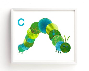Nursry Art Boy, Nursery Art Girl, C is for Caterpillar print, Printable art, Alphabet Wall art, Kids Room Art, Nursery decor, Insect Art