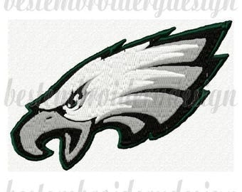 Philadelphia Eagles Football Logo Embroidery Design 4x4 Hoop Instant Download pes, hus, jef, vip, vp3, dst, xxx, exp included