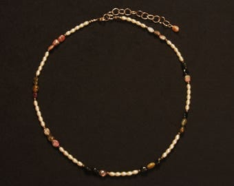 Dainty necklace of Pearls and Tourmaline