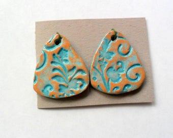 Rustic Turquoise Glazed Terra Cotta Drop Bead Findings Pair