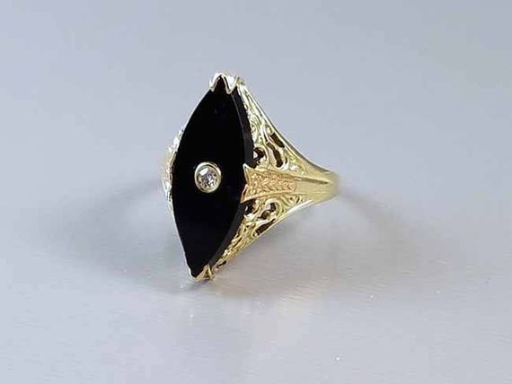 Antique early Art Deco 1920s 14k green and pink gold filigree black onyx marquise navette diamond ring / size 7.5