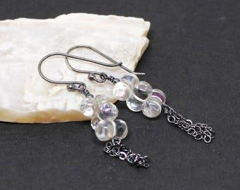 Mystic Rock Crystal Quartz Gemstone . Oxidized Sterling Silver Dangle Drop Earrings . Clear with Slight Rainbow Sheen . E16205