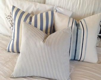Beachy  Trio  of Blue and White Stripe Canvas Pillow Covers   Coastal / Beach / Lake House / Farmhouse / Nautical / Cottage
