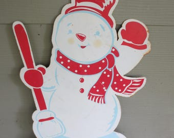 Vtg Metal Snowman Yard House Decor / Mantle Art / Christmas Decor / LET IT SNOW! / Metal Yardart