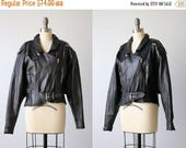 SALE Vintage Black Leather Motorcycle Jacket / Leather Express Jacket / Cropped Slouchy Jacket