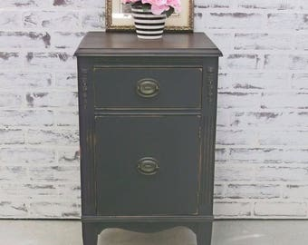 End Table / Nightstand, Distressed Black Cottage Style - NS504 Shabby Farmhouse Chic