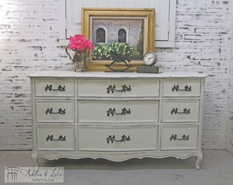 French Provincial Triple Dresser, Distressed White- Chic DR602 Shabby Farmhouse Chic, Dresser, Nursery Furniture