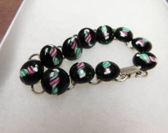 Fused Glass Bracelet, Lampwork Glass Jewelry, Glass Bracelet, Charm Bracelet