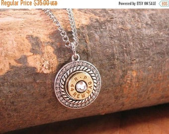 CLEARANCE SALE Bullet Jewelry - Bullet Necklace - Round Double Bezel of Rope Edge and Diamond Encrusted Bullet Casing Necklace from SureShot