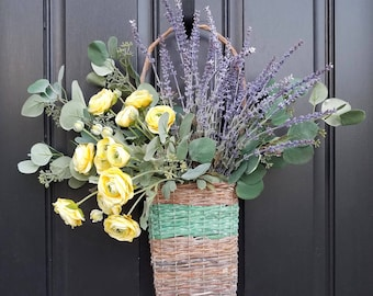 Basket of Flowers, Summer Wreaths for Front Door, Country Flower Basket, Flower Baskets, Twig Flower Basket, Country Cottage Wreath