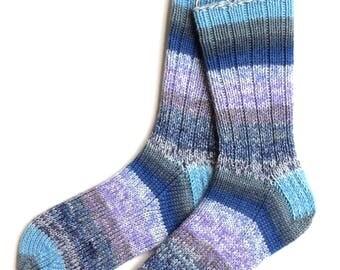 Handknit Socks for Women, Teen Girls, Ladies Socks, merino wool socks, gift for women, knitted socks, blue lavender socks, striped socks