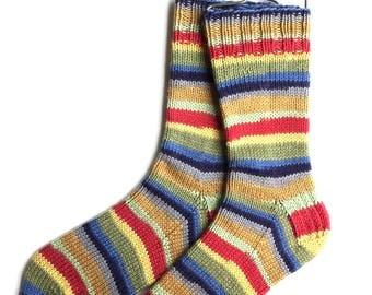 Cashmere Merino Blend Socks for Women, Girls, Handknit Socks, DK weight, striped socks, yellow green blue red socks, bright colored socks