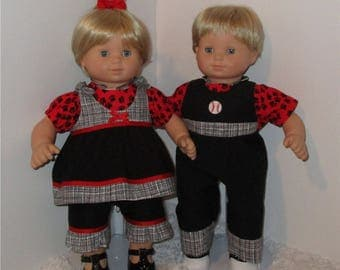 """Black and Red Matching Outfits, Fits 15"""" Twin Dolls // Bitty Twin Clothes, Twin Doll Overalls, AG Boy and Girl, American Girl, AG Twin"""