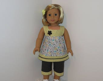 "Black and Yellow Capri Set, Fits 18"" Dolls // AG Doll Clothes, AG Pant Set, American Girl, Doll Pant Set, Shirt, Blouse, Tunic, Spring"