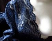 FAT QUARTER Alencon Lace Fabric in DARK Navy Blue
