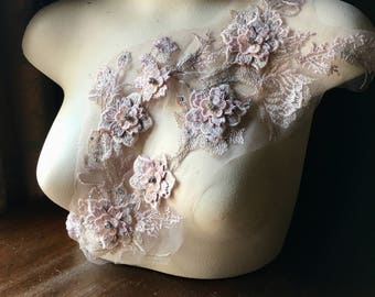 PINK & LILAC 3d Lace Applique #3 with Rhinestones for Lyrical Dance, Ballet, Skating Costumes, Bridal, Garments F23-3