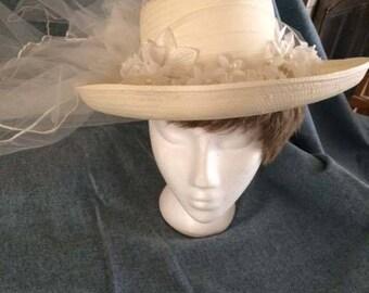 Wedding Cowboy Hat, White Cowboy Bridal Hat with Veil