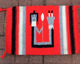 Handwoven, Cotton Small Navajo Rug, Classic Southwestern Design