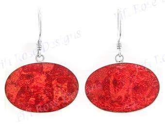 "1"" Wide Cool Oval Red Sponge Coral 925 Sterling Silver Earrings"