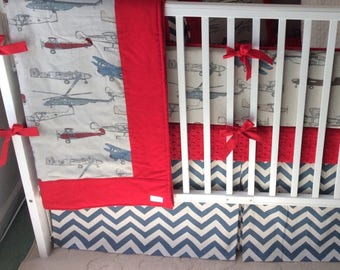 Baby Boy Crib Bedding Set in Vintage Airplanes Red and Blue Made to Order