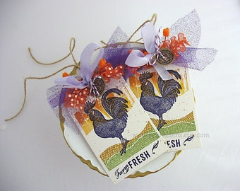 Farm Fresh Rooster Gift Tags~set of 2~Ranch~Country Kitchen~Homespun Farm~Chicken~Sunset~purple~yellow~orange~green~Tuscany~Farmhouse