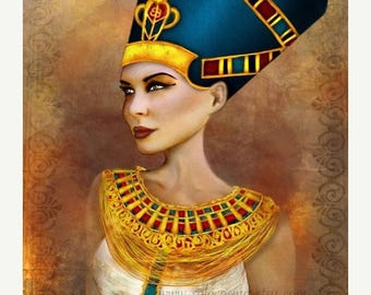 50% Off SALE Nefertiti Portrait Sized 8.5x11 or 8x10 or 11x17 or 13x19 Medium Premium Giclee Fine Art Print - Ancient Egyptian Queen - Blue