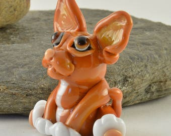 CHIHUAHUA Dog, Cicely the Chihuahua Glass Sculpture Collectible, Focal Bead, Izzybeads SRA
