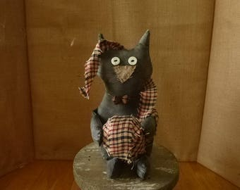 PRIMITIVE, FOLKART Black  CAT, Shelf Sitter, Tuck